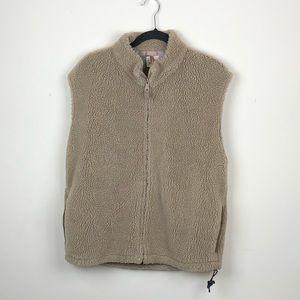 WOOLRICH   Men's Tan Sherpa Zipper Vest Large